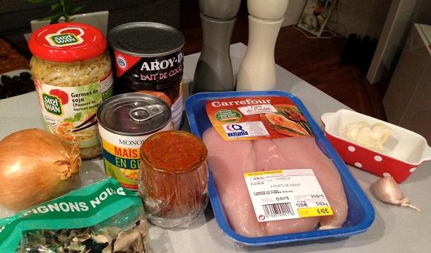 ingrédients pour le poulet massaman