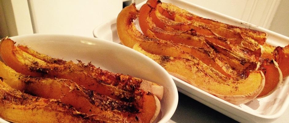 courge butternut rôtie sauche citron, tahini moutarde
