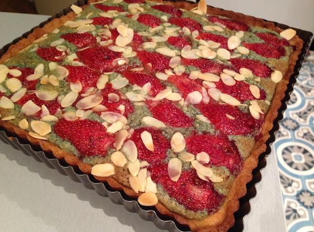 tarte aux fraises pistaches cuite