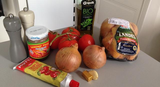 ingrédients du poulet façon PAL