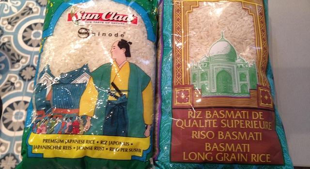 riz à sushi et riz basmati
