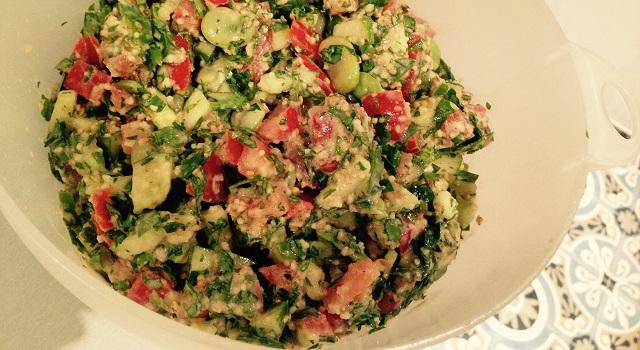 salade de feves tahini sesame et tomate