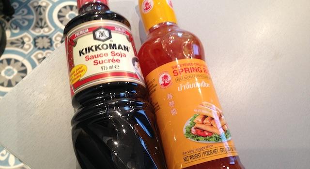 sauce soja sucrée et sauce sweet chili