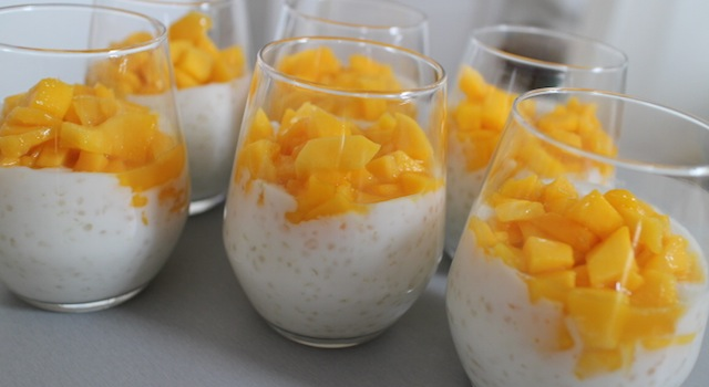 Dessert en verrine, Tapioca au lait de coco, mangue et aloé vera