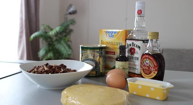 Ingrédients de la tarte aux noix de pecan - The American pecan pie - La véritable tarte aux noix de pecan