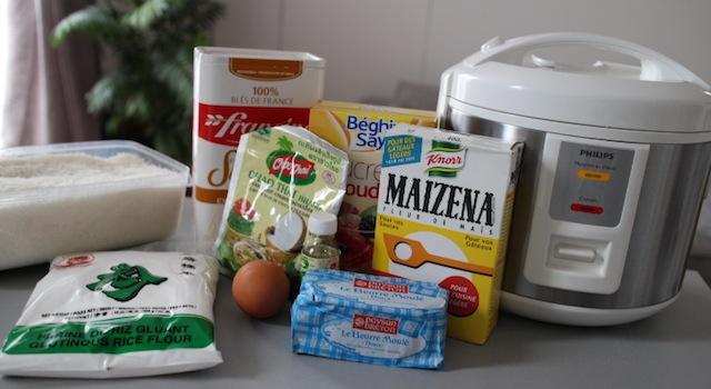 ingrédients des perles de coco maison - perles de coco au rice cooker