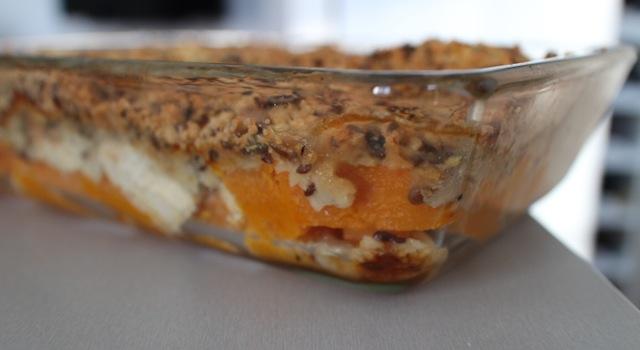 les étages du crumble salé - Crumble aux graines de courges, butternut, poulet