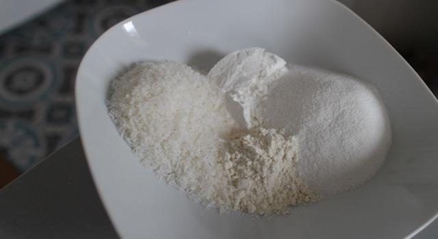 mélange des farines du coeur des perles coco - perles de coco au rice cooker