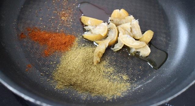 doser les épices et l'huile - Salade de fèves aux citrons confits