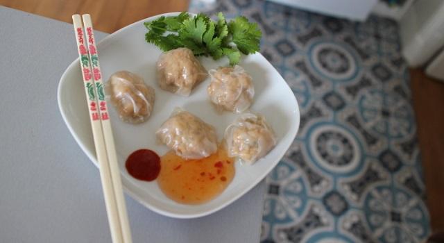 raviolis sains cuits à la vapeur et aux crevettes fraîches - Ravioli vapeur aux crevettes express