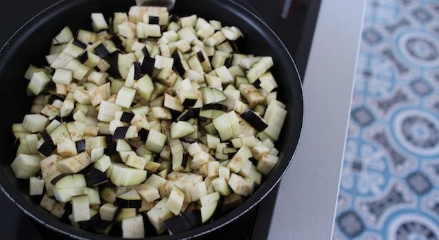 cuisson des aubergines - Taboulé égyptien