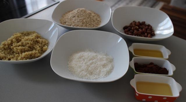 préparation des ingrédients - Barres de céréales maison Coco-Choco-Noisettes