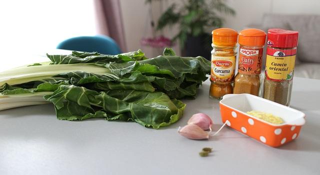ingrédients de la Salade de blettes a l'indienne