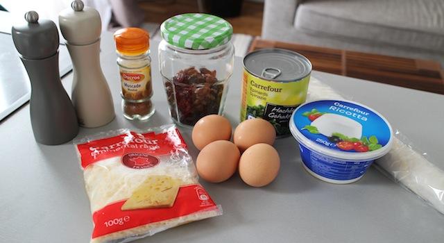 ingrédients de la Tarte épinards, ricotta et raisins secs