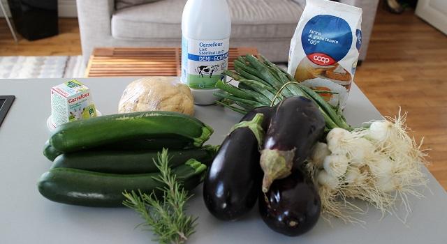 ingrédients des Lasagnes du soleil végétariennes