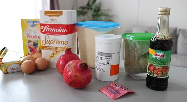 ingrédients du Cake grenade pistache