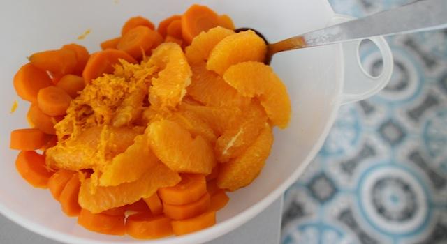 mélanger les carottes et les oranges - Salade cuite de carottes à la fleur d'oranger