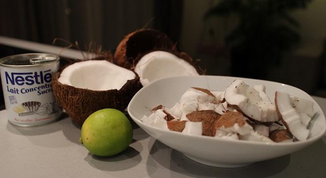 ingrédients Coco givré, la glace coco avec des vraies noix de coco