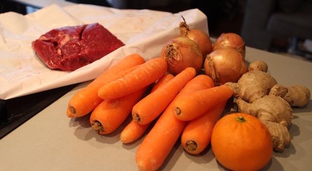 ingrédients Bœuf sauté carottes orange gingembre