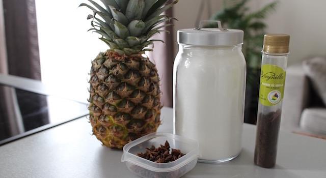 ingrédients recette Sorbet ananas, badiane et vanille