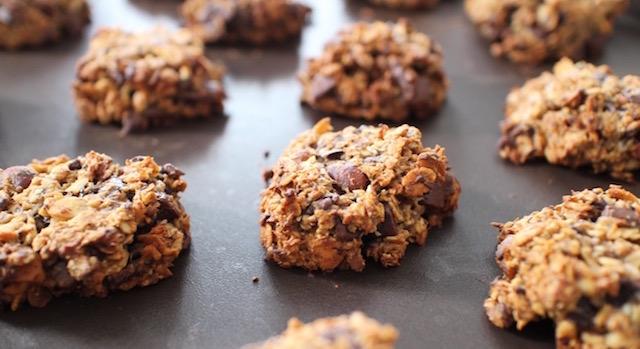 cookies cuits bien dorés - Cookies des sportifs banane, chocolat, noisette