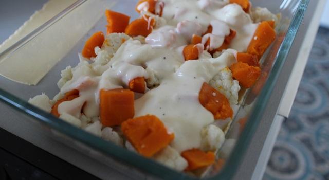 couche choux fleur butternut et bechamel - Lasagnes blanches au poulet