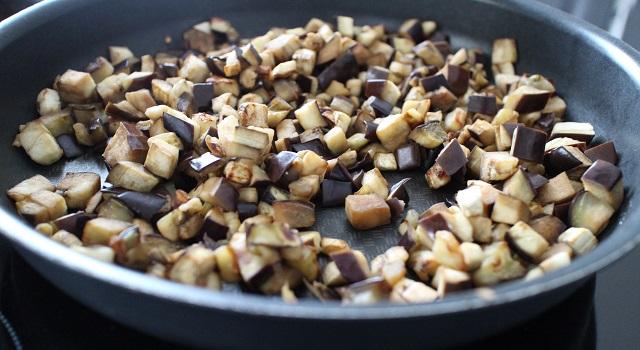 aubergines cuites - Tabouleh de menthe fraîche