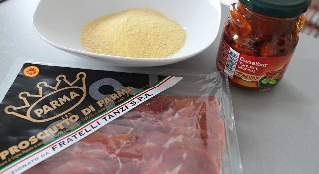 ingrédients - Toasts de polenta, parme, tomate séchée