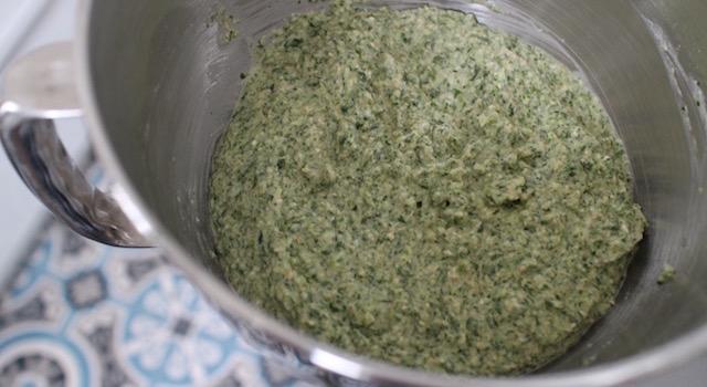 laisser reposer l'appareil - Pancakes a l'okara de legumes verts