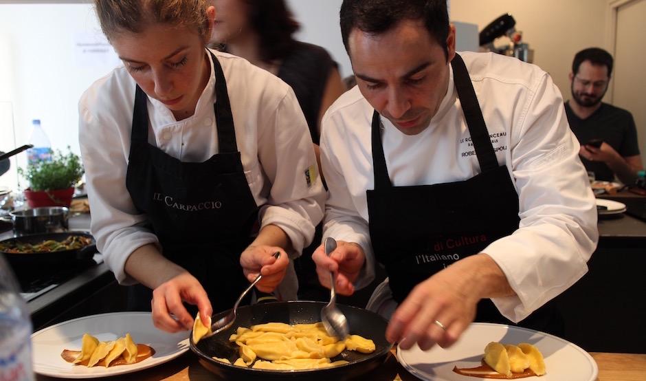 cuisine Roberto Rispoli Parmesan jambon de Parme à l'Ambassade d'Italie