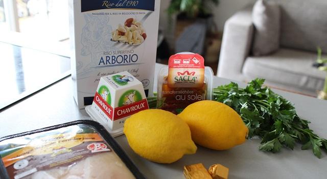 ingrédients Risotto estival chèvre frais, citron, tomate séchée