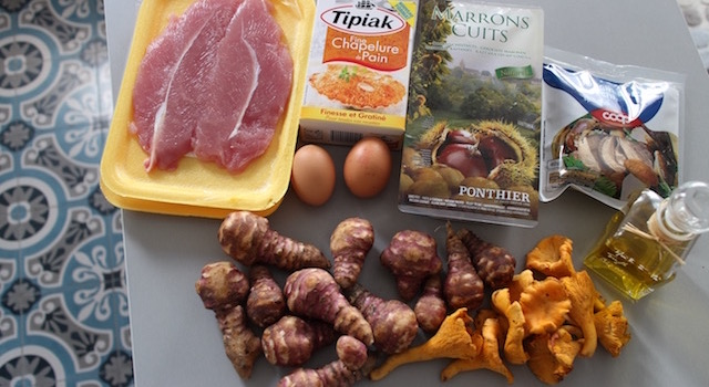 ingredients-escalope-de-dinde-croustillante-aux-marrons