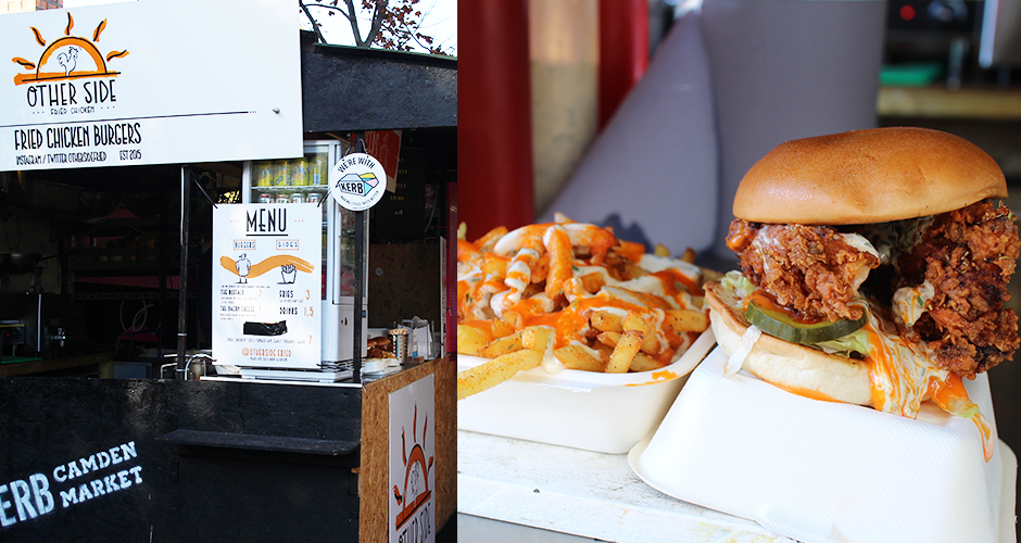 fried chicken burger - Camden street food market - London