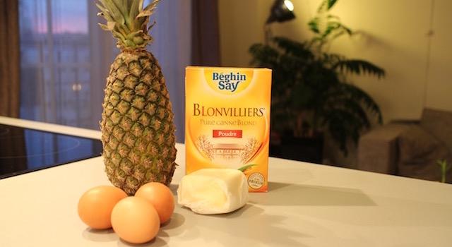 ingredients - Ananas moelleux en gâteau