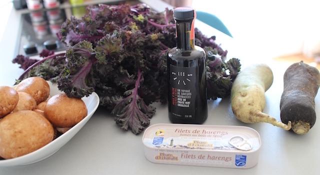 ingrédients - Salade de kale aux harengs fumés