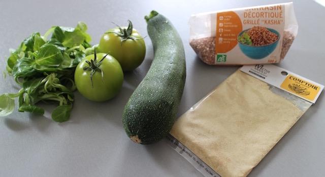 ingrédients Smoothie vert de légumes au sarrasin croustillant