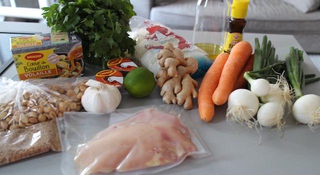 ingrédients - Pad Thaï Bowl au poulet