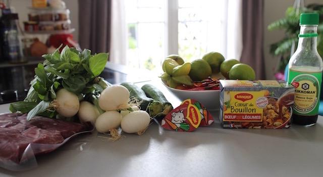 ingrédients - Salade de bœuf thaï exotique