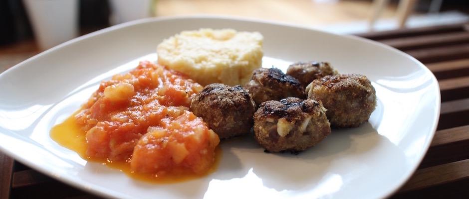 recette rapide - Boulettes d'agneau, polenta au lait d'amande