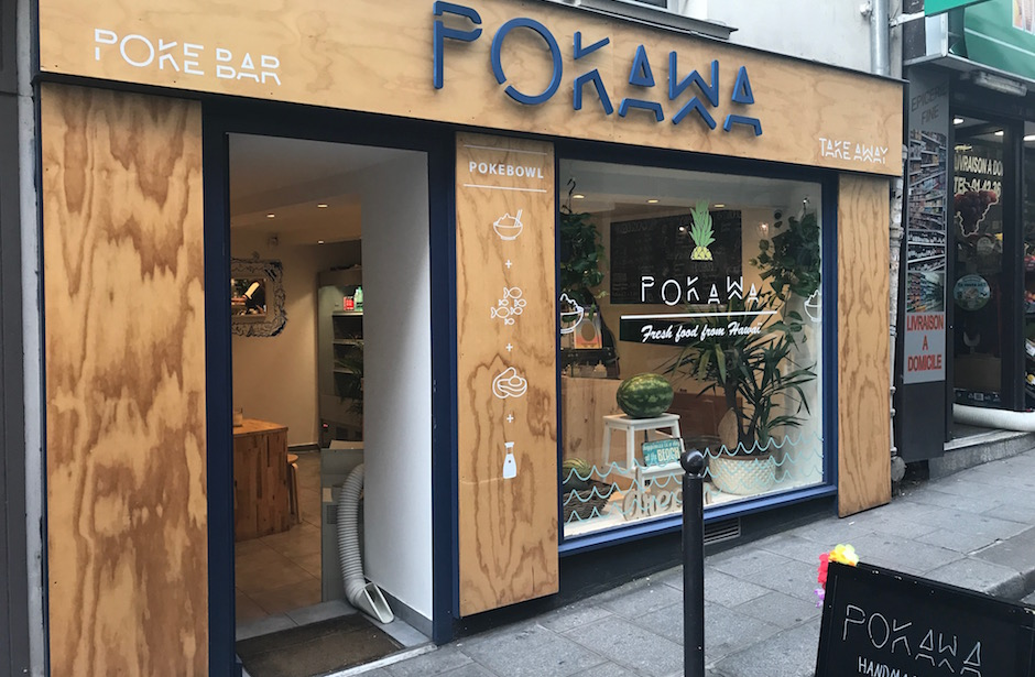 devanture Restaurant Pokawa - poke bowl headquarter parisien