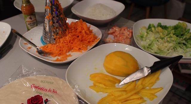 ingrédients - Rouleaux de printemps mangue - crevettes - piri piri