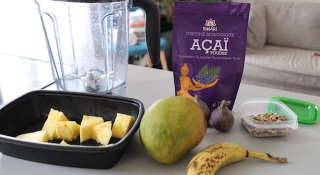 ingrédients - Açaï bowl de saison - mangue figues ananas