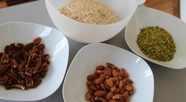 Ingrédients du granola maison pistache pecan amandes avoine - Granola pistache naturel