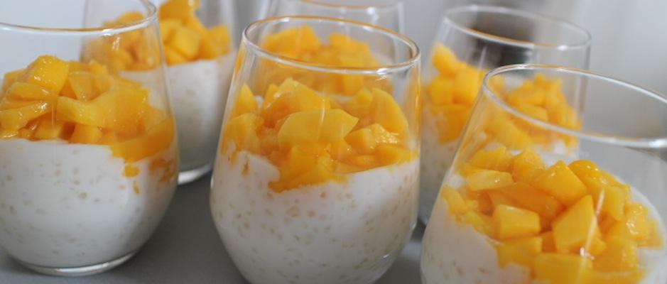 Tapioca au lait de coco, mangue, citron vert et aloé vera