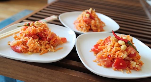 entrée fraîche d'été et exotique - Salade de papaye verte de Koh Samui.JPG