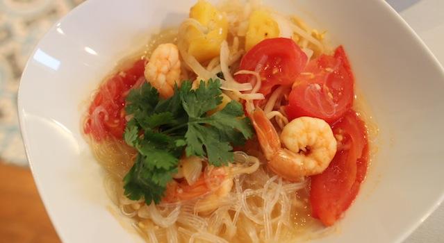 soupe en entrée ou en plat - Soupe de crevettes au tamarin et ananas frais