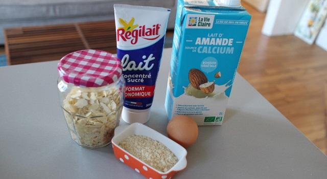 Ingrédients des petits pots de crème au lait d'amande
