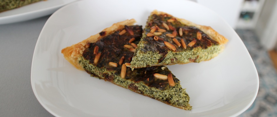 Tarte épinards, ricotta et raisins secs
