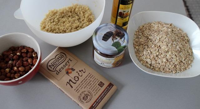 ingrédients des Céréales maison chocolat & noisettes