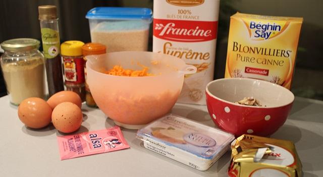 ingrédients du Carrot Cake - Petit écureuil